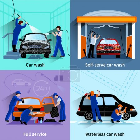 Car Wash Service 4 Flat Icons
