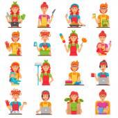 Hospodyňka plochý barevný ikony Set