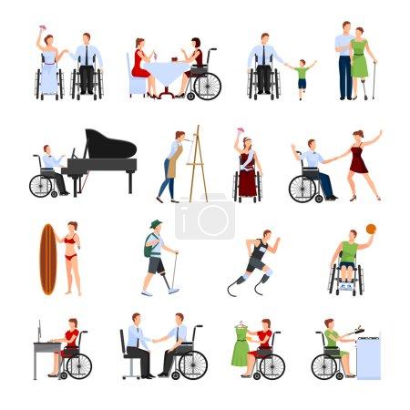 Illustration pour Personnes handicapées menant une vie créative pleine et active collection d'icônes plates avec coureur paralympique illustration vectorielle isolée abstraite - image libre de droit