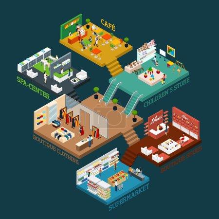 Illustration pour Centre commercial schéma isométrique avec différents étages et zones et des icônes plates de personnes marchandises et illustration vectorielle intérieure - image libre de droit
