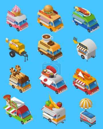 Street Food Trucks Isometric Icons Set