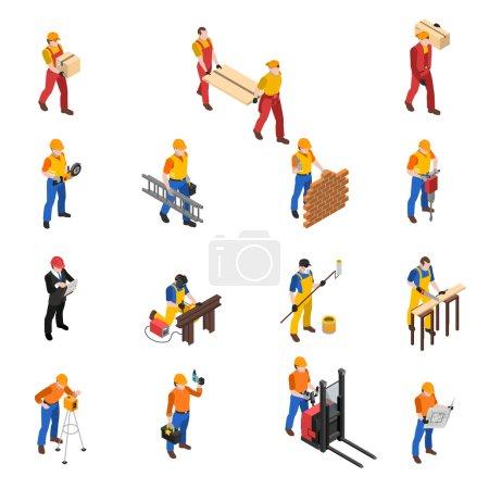 Illustration pour Les constructeurs travaillent sur le chantier de construction isométrique icônes collection avec maçon charpentier et chef de projet isolé vecteur illustration - image libre de droit