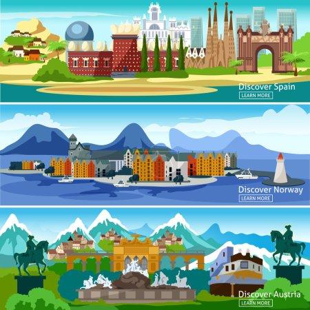 Photo pour Vues panoramiques bannières horizontales des principales attractions des villes touristiques européennes en Espagne Norvège et Autriche illustration vectorielle - image libre de droit