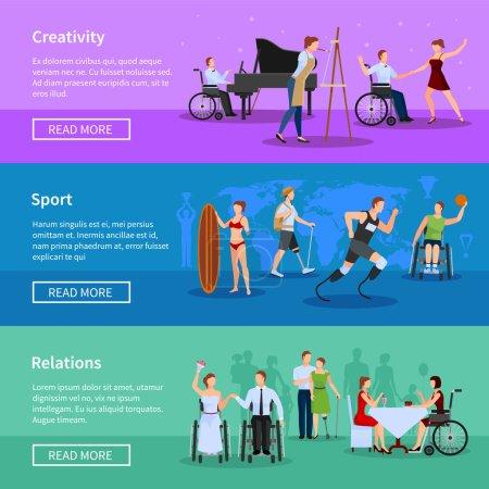 Illustration pour Handicapés vie complète informations en ligne 3 bannières horizontales plates mis en page web design abstrait isolé vecteur illustration - image libre de droit