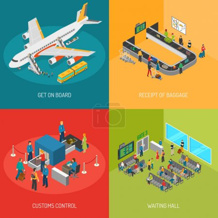 Illustration for Airport 2x2 images presenting get on board receipt of baggage customs control and waiting hall isometric vector illustration - Royalty Free Image
