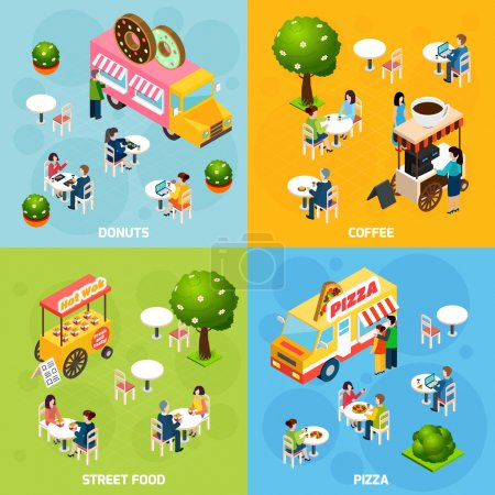 Street Food Isometric 4 Icons Square