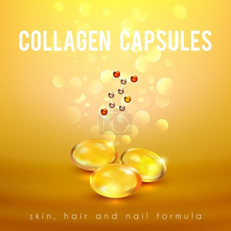 Illustration for Collagen capsules for strong long hair and nails supplement formula advertisement golden background poster abstract vector illustration - Royalty Free Image