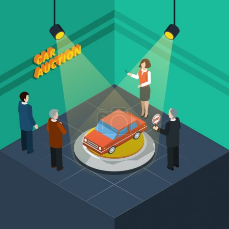 Illustration pour Isometric processus de vente aux enchères de voitures abstraite avec les personnes qui soumissionnent en regardant la voiture présenté illustration vectorielle - image libre de droit