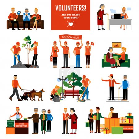 Illustration for Volunteers decorative icons set with young people helping elderly and animals planting and cleaning city flat vector illustration - Royalty Free Image