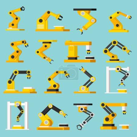 Automation Conveyor Orthogonal Flat Icons Set