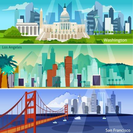Photo pour American Cityscapes Flat Concept. Bannières horizontales USA Sights. Illustration vectorielle des villes américaines. America And Cities Isolated Set. Symboles de design de paysages urbains américains . - image libre de droit