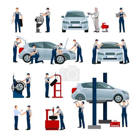 Illustration pour Icônes plates ensemble de différents travailleurs dans le service de voiture et de pneus faisant leur travail illustration vectorielle isolée - image libre de droit