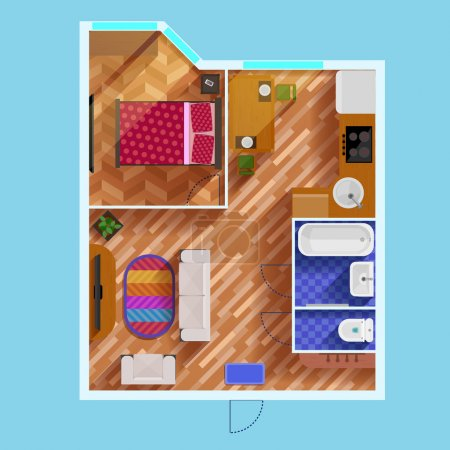 Illustration for Colorful floor plan of apartment with one bedroom living room kitchen bathroom toilet and furniture flat vector illustration - Royalty Free Image