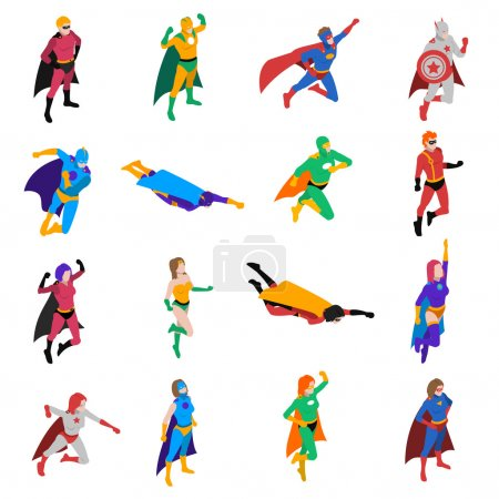 Illustration for Heroic powerful superhero popular strip cartoon character in action isometric icons collection abstract isolated vector illustration - Royalty Free Image