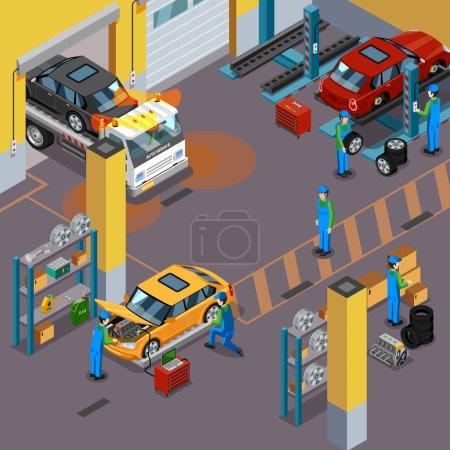 Illustration pour Concept isométrique de vue de dessus de service de voiture avec des ouvriers réparant des automobiles dans l'illustration vectorielle de centre de service de véhicule - image libre de droit