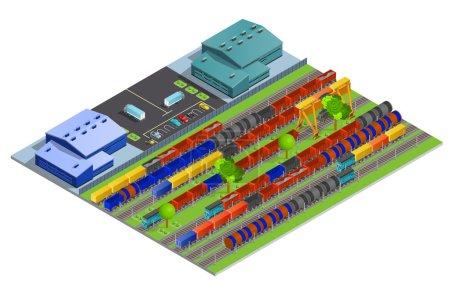 Railroad Cargo Transportation Isometric Design Concept