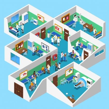 Hospital Facilities Interior Isometric View Poster