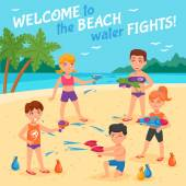 Beach water fights with children and water guns flat vector illustration