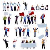 Demonstrační Protest lidí ikony Set