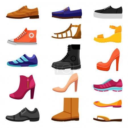 Illustration pour Chaussures plat icônes de couleur ensemble de chaussures masculines et féminines bottes sandales pour différentes saisons isolé vectoriel illustration - image libre de droit