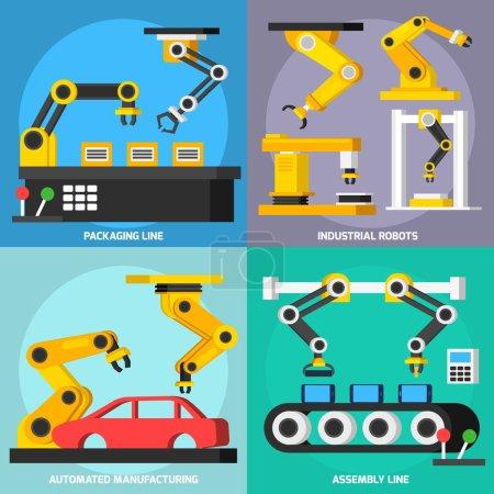 Illustration pour Automatisation fabrication de convoyeurs bras robotisés en processus orthogonal 2x2 icônes plates ensemble avec lignes de montage et d'emballage illustration vectorielle isolée - image libre de droit