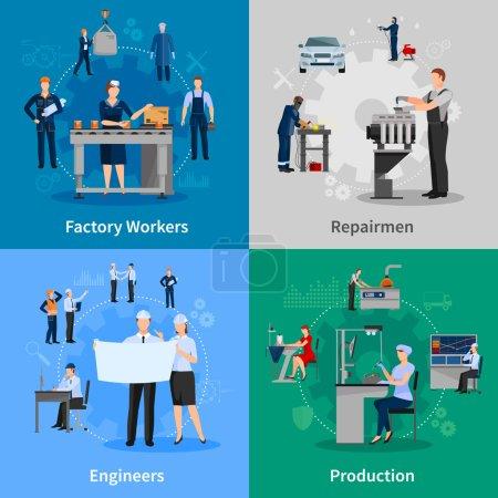 Fabrikarbeiter 2x2 Kompositionen