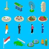 Singapore Travel  Symbols Isometric Icons Set