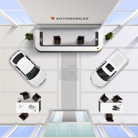 Illustration pour Isometric vue de dessus bureau intérieur du salon de l'automobile avec des voitures et des tables pour les employés et les clients illustration vectorielle réaliste - image libre de droit