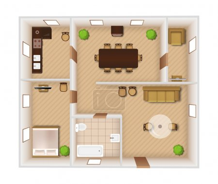 Illustration for Flat rooms interior with furniture and equipment top view vector illustration - Royalty Free Image