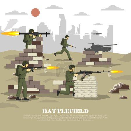 Illustration pour Armée militaire guerre ordinateur jeu vidéo champ de bataille jeu de tir expérience cinématographique personnelle poster plat imprimer illustration vectorielle abstraite - image libre de droit