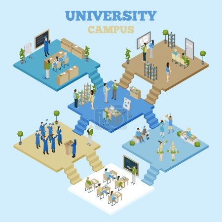 Illustration for University campus isometric illustration with classrooms and students having classes on light blue background vector illustration - Royalty Free Image