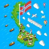 Norway Map Touristic Symbols Isometric Poster