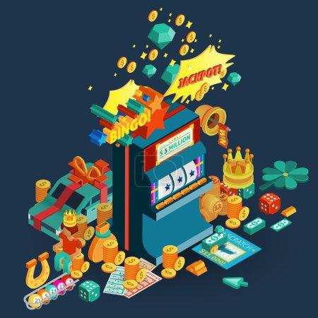Illustration pour Loterie et machine à sous composition isométrique avec jackpot et bingo description et accessoires pour jeux de table illustration vectorielle - image libre de droit