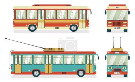 Illustration pour Services de transports publics urbains bus et trolleybus vues 4 icônes plates abstrait carré illustration vectorielle isolée - image libre de droit