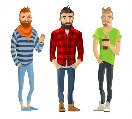 Illustration for Hipster cartoon male people wearing trendy clothes and haircuts isolated on white background vector illustration - Royalty Free Image