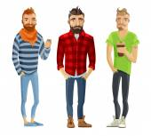 Hipster Cartoon People Set