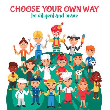 Photo pour Illustration vectorielle de dessins animés de diverses professions de personnes pour les enfants avec l'instruction d'être diligent et courageux - image libre de droit
