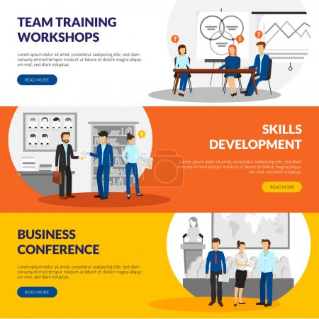 Illustration for Business training consulting skill development workshops information 3 flat horizontal banners webpage design abstract isolated vector illustration - Royalty Free Image