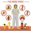 Pest control service vector illustration with exte...