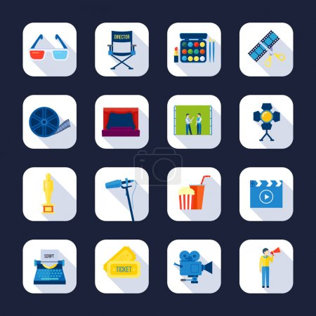 Filmaking Flat Icons Collection Black Background