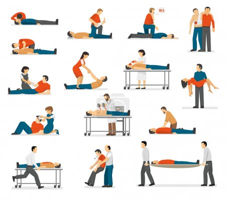 First Aid Emergency Flat Icons Set