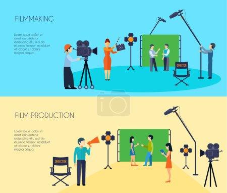 Illustration pour Tournage scène de film prise de vue 2 bannières horizontales plates avec réalisateur caméraman et assistant isolé vecteur illustration - image libre de droit
