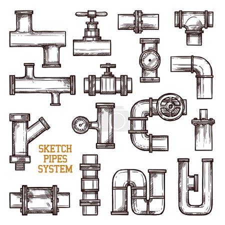 Illustration pour Croquis différentes parties du système de tuyaux isolés sur fond blanc illustration vectorielle doodle - image libre de droit
