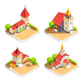Church 4 Isometric Icons Set