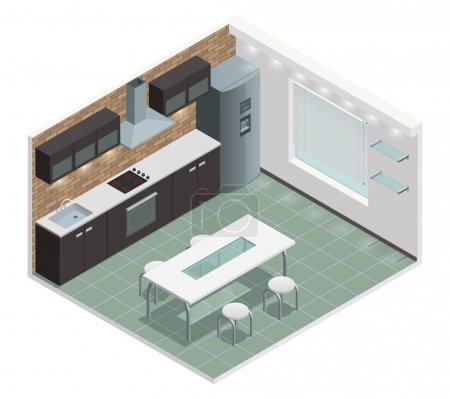 Illustration for Modern family kitchen isometric view with counter built in oven and european style cabinets vector illustration - Royalty Free Image