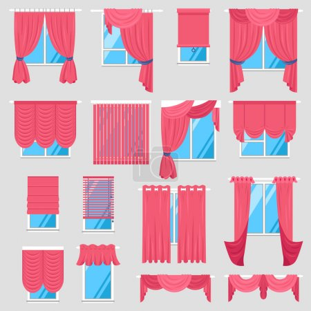 Illustration for Red curtains set of vintage textile models with lambrequin and modern jalousie and roman blind isolated vector illustration - Royalty Free Image