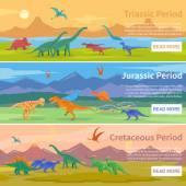 Dinosaurs Flat Horizontal Banners