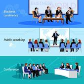 Conference Public Speaking 3 Flat Banners