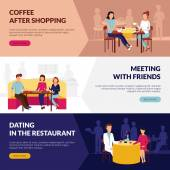 Information on restaurant service 3 flat banners webpage design with coffee bar dating abstract isolated vector illustration