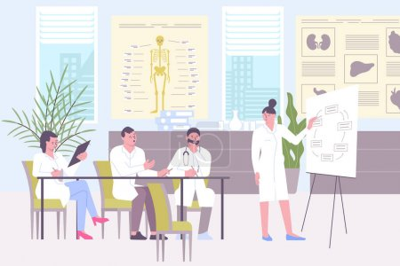 Illustration pour Planning meeting of doctors in hospital flat composition with doctors office scenery and group of colleagues vector illustration - image libre de droit